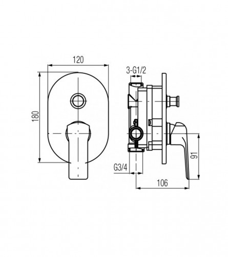 VALVEX Podžbukna baterija CHROM AURORA V2445170