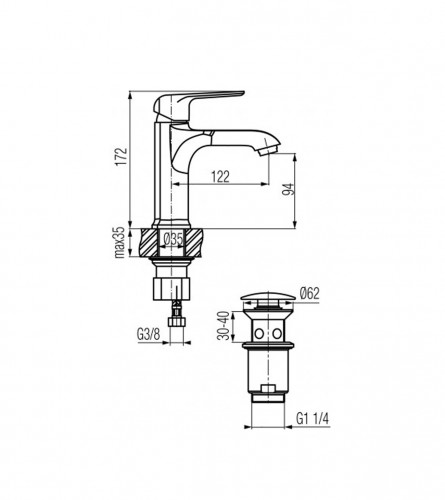 VALVEX Baterija za umivaonik AURORA V2445200