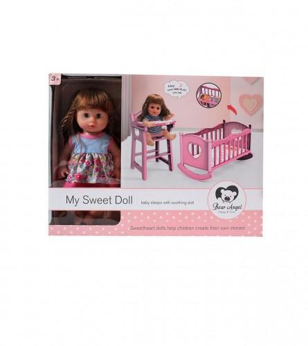 MASTER Igračka lutka sa krevetićem i sjedalicom JQ124707