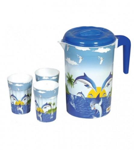 VIOLET Bokal i čaše 4/1 PVC set sorto boje 0009