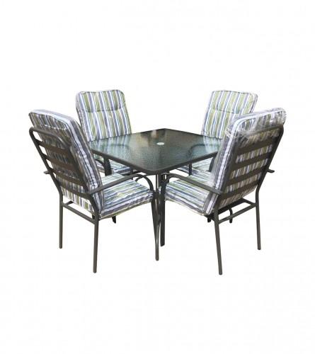 MASTER Set sto + 4 stolice sa platnenim podmetačima WMGT-017A