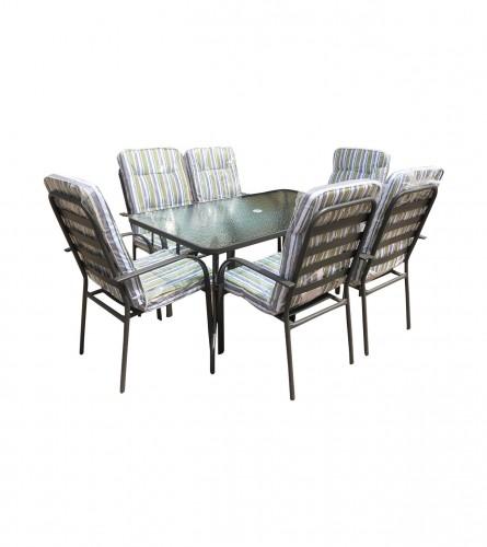 Set sto + 6 stolica sa platnenim podmetačima WMGT-017A