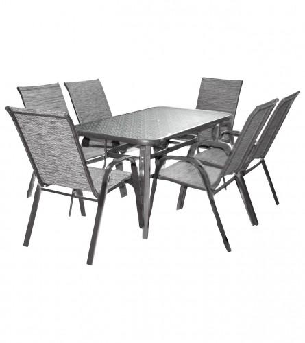 MASTER Set sto + 6 stolica sivi WMTC-012+WMGT-01
