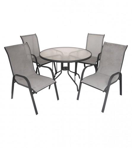 MASTER Set sto + 4 stolice sivi WMTC-012+WMGT-050A