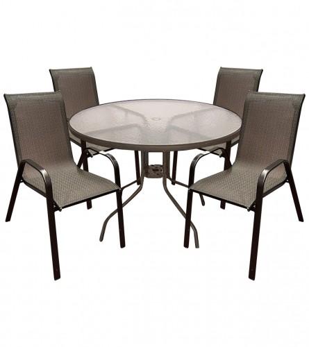 MASTER Set sto + 4 stolice smeđi WMTC-012+WMGT-050A